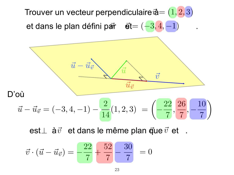 23 Trouver un vecteur perpendiculaire à et dans le plan défini par et. Doù est à et dans le même plan que et.
