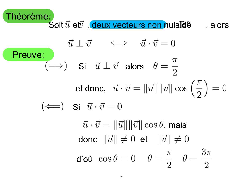 9 Théorème: Preuve: Soit et, deux vecteurs non nuls de, alors Si alors et donc, Si, mais donc et doù