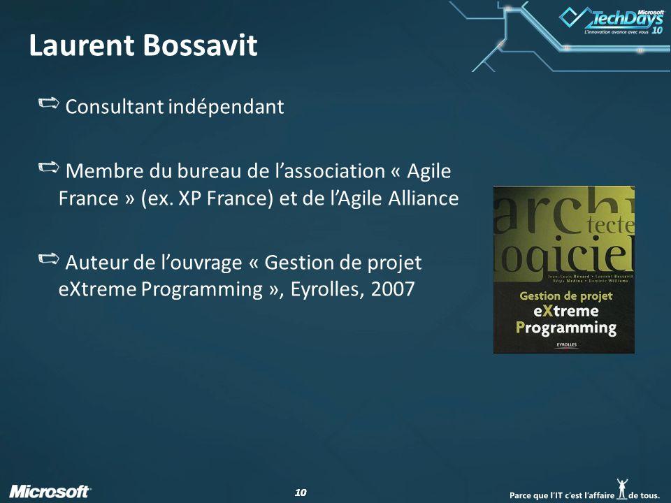 10 Laurent Bossavit Consultant indépendant Membre du bureau de lassociation « Agile France » (ex. XP France) et de lAgile Alliance Auteur de louvrage