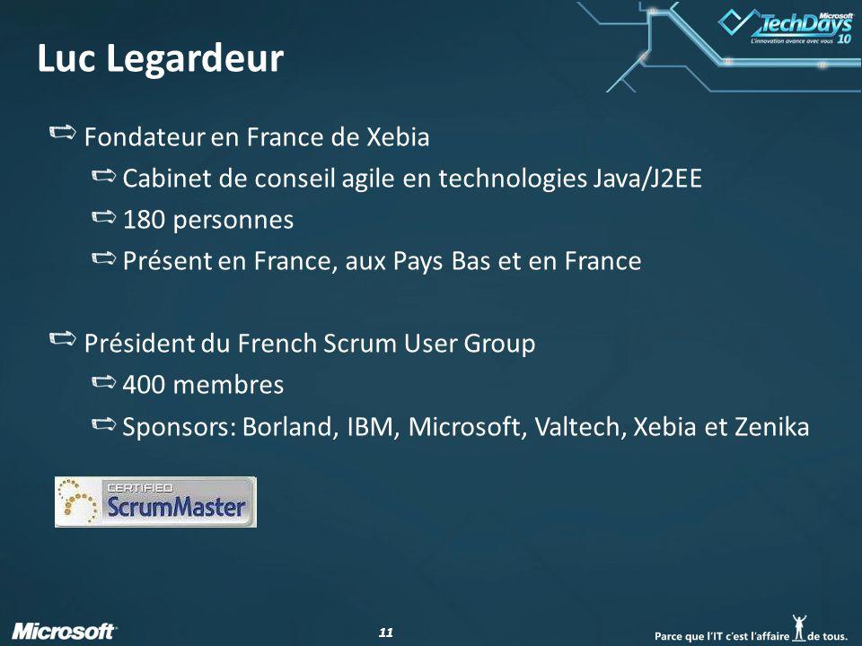 11 Luc Legardeur Fondateur en France de Xebia Cabinet de conseil agile en technologies Java/J2EE 180 personnes Présent en France, aux Pays Bas et en F