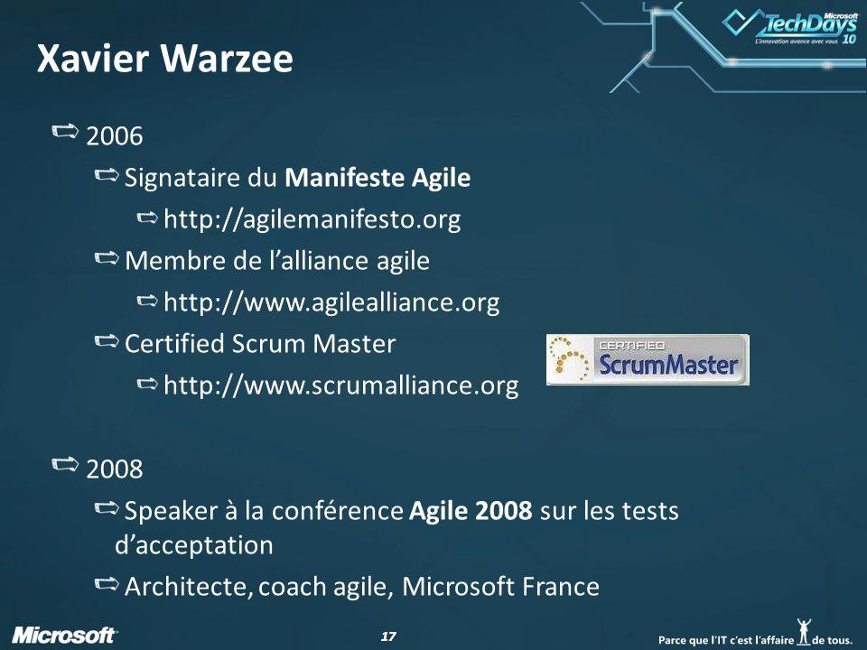 17 Xavier Warzee 2006 Signataire du Manifeste Agile http://agilemanifesto.org Membre de lalliance agile http://www.agilealliance.org Certified Scrum M