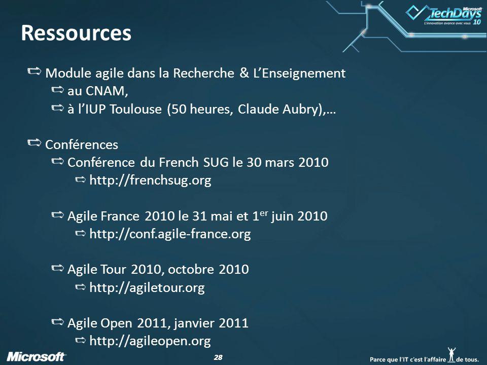 28 Ressources Module agile dans la Recherche & LEnseignement au CNAM, à lIUP Toulouse (50 heures, Claude Aubry),… Conférences Conférence du French SUG