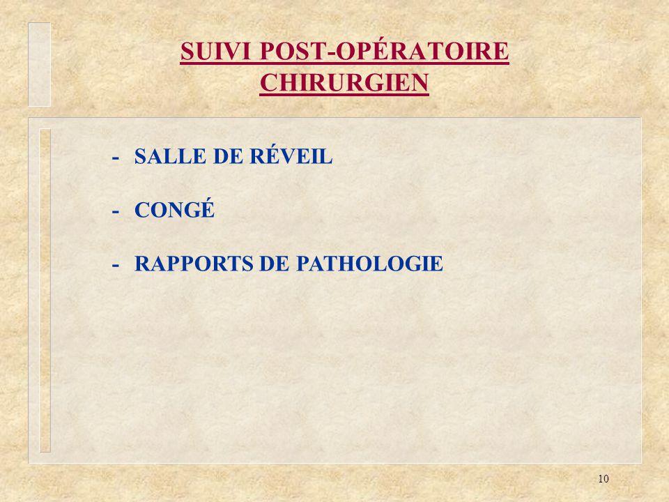 10 SUIVI POST-OPÉRATOIRE CHIRURGIEN -SALLE DE RÉVEIL -CONGÉ -RAPPORTS DE PATHOLOGIE