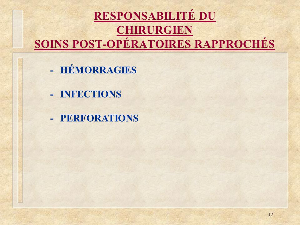12 RESPONSABILITÉ DU CHIRURGIEN SOINS POST-OPÉRATOIRES RAPPROCHÉS -HÉMORRAGIES -INFECTIONS -PERFORATIONS
