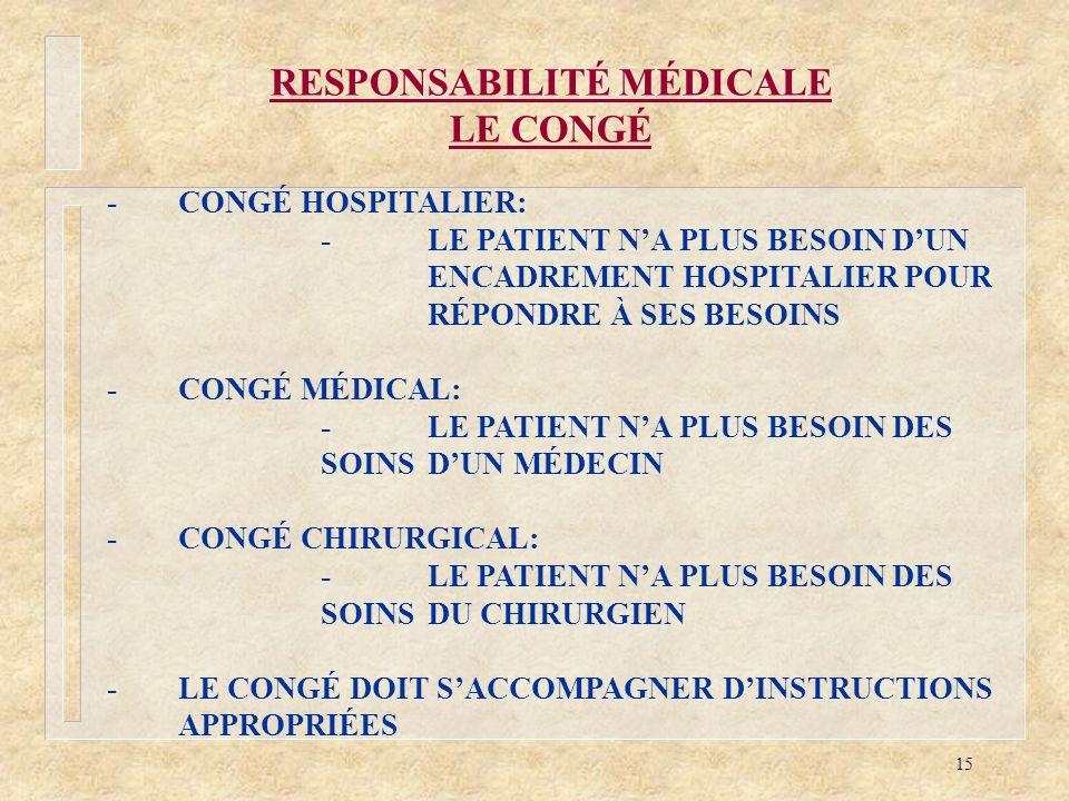 15 RESPONSABILITÉ MÉDICALE LE CONGÉ -CONGÉ HOSPITALIER: -LE PATIENT NA PLUS BESOIN DUN ENCADREMENT HOSPITALIER POUR RÉPONDRE À SES BESOINS -CONGÉ MÉDI