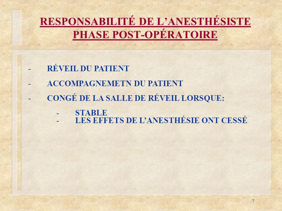 7 RESPONSABILITÉ DE LANESTHÉSISTE PHASE POST-OPÉRATOIRE -RÉVEIL DU PATIENT -ACCOMPAGNEMETN DU PATIENT -CONGÉ DE LA SALLE DE RÉVEIL LORSQUE: -STABLE -L