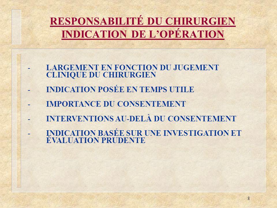 8 RESPONSABILITÉ DU CHIRURGIEN INDICATION DE LOPÉRATION -LARGEMENT EN FONCTION DU JUGEMENT CLINIQUE DU CHIRURGIEN -INDICATION POSÉE EN TEMPS UTILE -IM