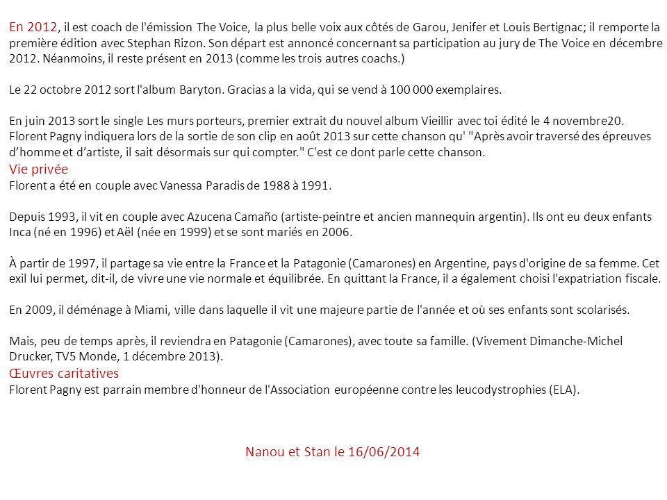 Années 2000 : des années créatives Les années 2000 sont des années très riches pour Florent Pagny qui alterne les albums originaux et de reprises (du moins en partie) en changeant régulièrement de look et de style musical : Châtelet Les Halles, en 2000, dont la plage-titre est signée par Calogero, un album de duos, en 2001 ; Ailleurs land, en 2002, il prête sa voix à deux livres-disques pour enfants (les contes de la Baleine Bleue chez MFG) sur des textes de Jérôme Eho, un album de duos, en 2003, dont le premier extrait signé Obispo-Florence traite de ses problèmes avec le fisc (Ma liberté de penser) et, enfin, en 2004, un album issu du répertoire lyrique, Baryton.