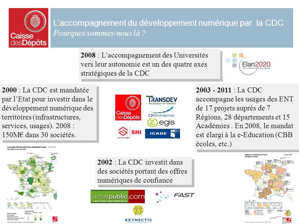 2 Laccompagnement du développement numérique par la CDC Pourquoi sommes-nous là ? 2008 : Laccompagnement des Universités vers leur autonomie est un de