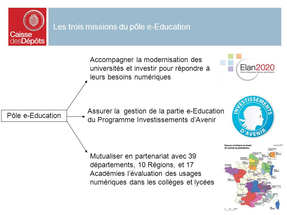 3 Les trois missions du pôle e-Education Mutualiser en partenariat avec 39 départements, 10 Régions, et 17 Académies lévaluation des usages numériques