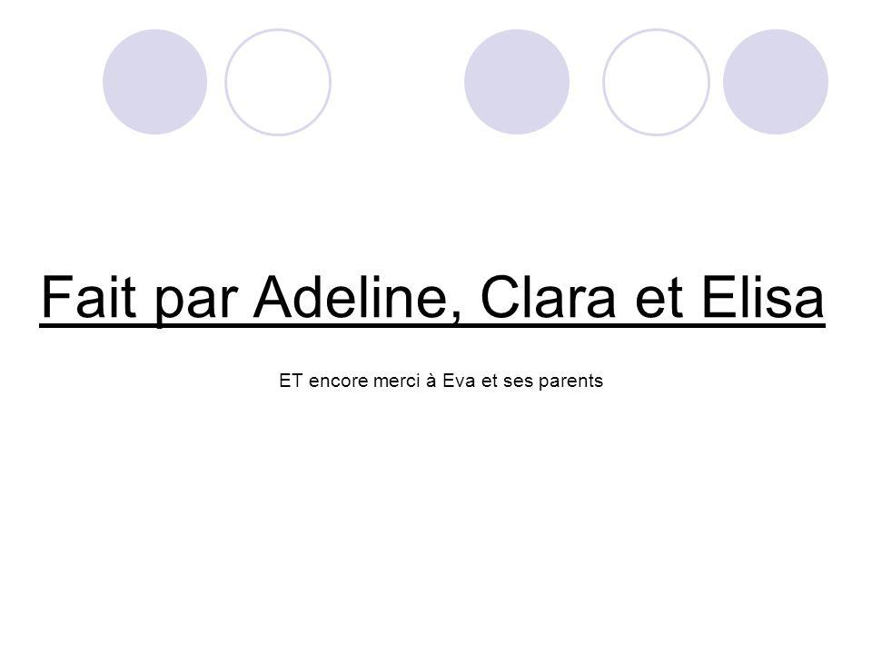 Fait par Adeline, Clara et Elisa ET encore merci à Eva et ses parents