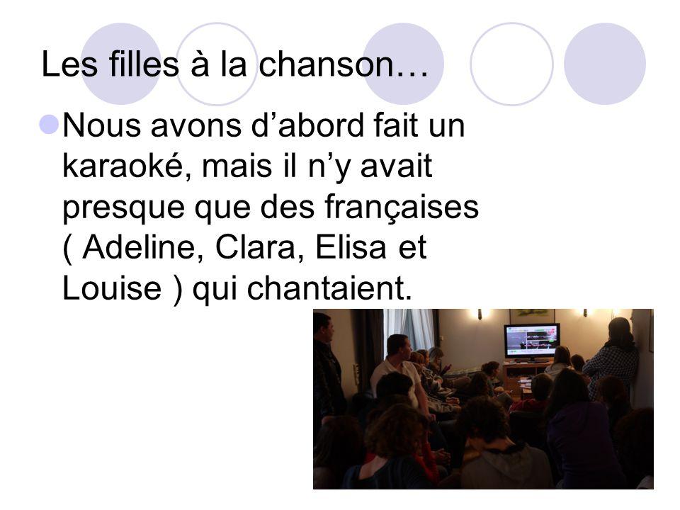 Les filles à la chanson… Nous avons dabord fait un karaoké, mais il ny avait presque que des françaises ( Adeline, Clara, Elisa et Louise ) qui chantaient.