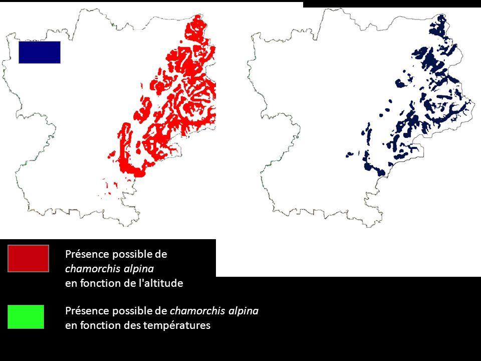 Présence possible de chamorchis alpina en fonction de l'altitude Présence possible de chamorchis alpina en fonction des températures Présence possible