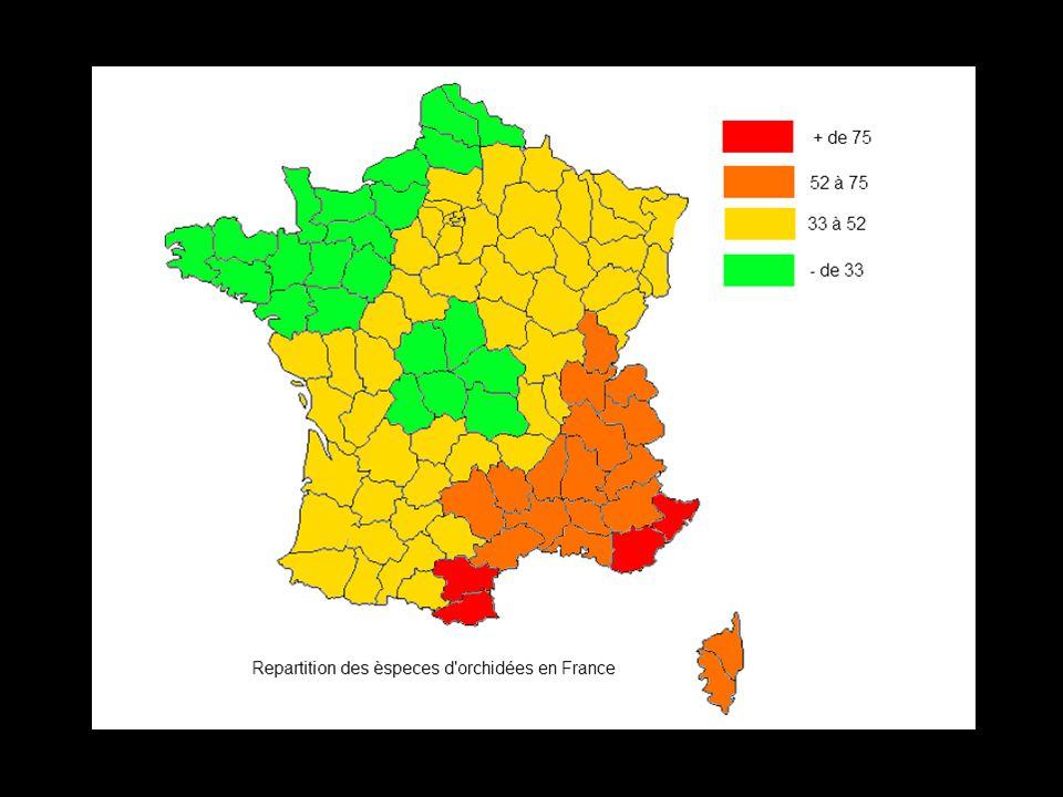 Répartition des espèces dorchidées sauvages protégées en France -de 6 10 à 12 7 à 9 13 à 15 + de 16