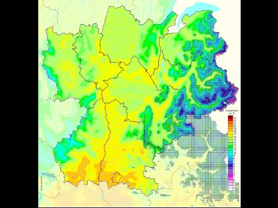 Voici les minimales de températures Voici les moyennes de températures Voici les maximales de températures Présence possible de chamorchis alpina d après les moyennes et les extrêmes de température annuelles