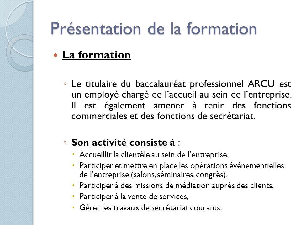 Présentation de la formation La formation Le titulaire du baccalauréat professionnel ARCU est un employé chargé de laccueil au sein de lentreprise. Il