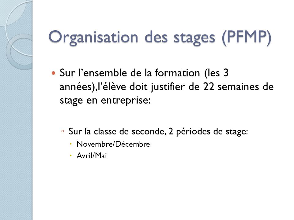Organisation des stages (PFMP) Sur lensemble de la formation (les 3 années),lélève doit justifier de 22 semaines de stage en entreprise: Sur la classe