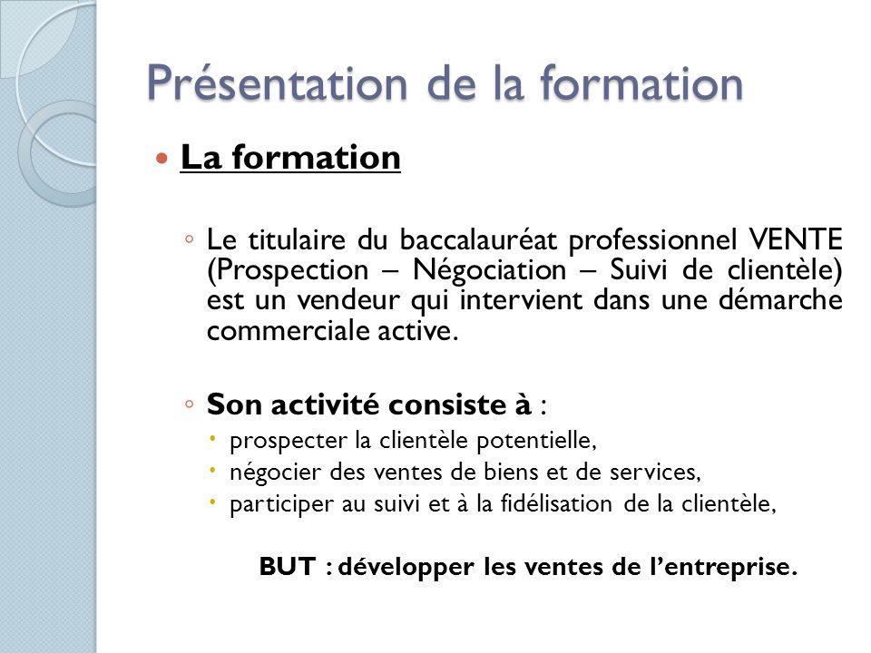 Présentation de la formation La formation Le titulaire du baccalauréat professionnel VENTE (Prospection – Négociation – Suivi de clientèle) est un ven