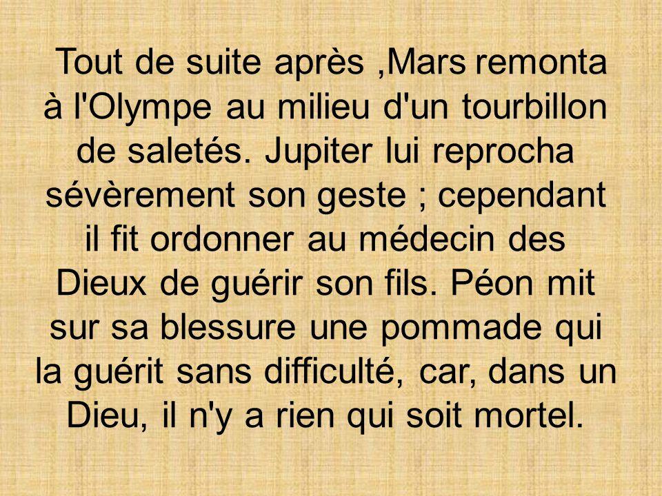 Tout de suite après,Mars remonta à l Olympe au milieu d un tourbillon de saletés.