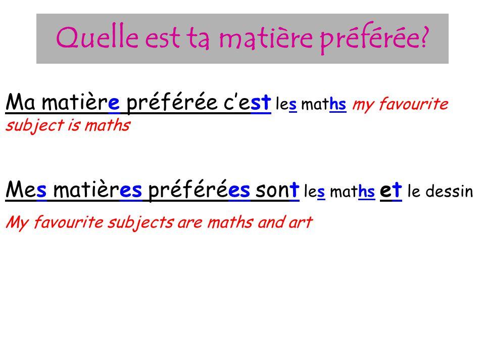 Les matières le masculine la feminine l + vowel les plural français dessin théâtre musique géographie technologie anglais histoire informatique éducat