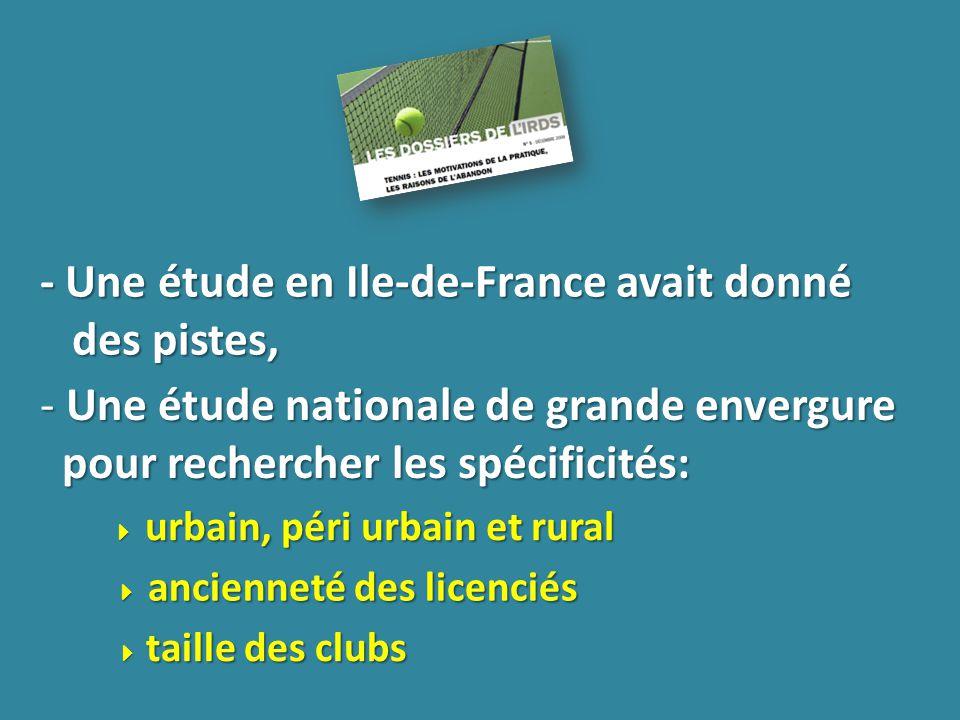 - Une étude en Ile-de-France avait donné des pistes, - Une étude nationale de grande envergure pour rechercher les spécificités: urbain, péri urbain et rural urbain, péri urbain et rural ancienneté des licenciés ancienneté des licenciés taille des clubs taille des clubs