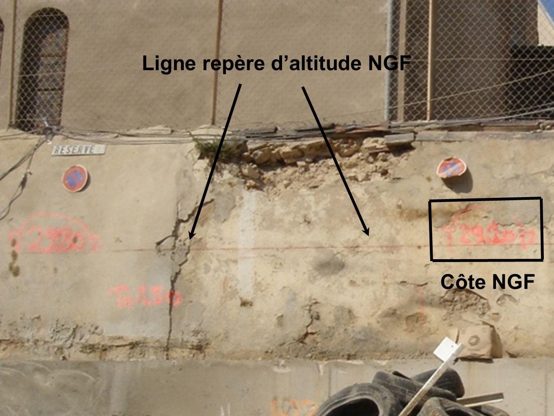 Ligne repère daltitude NGF Côte NGF