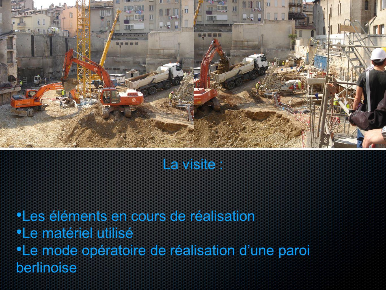 La visite : Les éléments en cours de réalisation Le matériel utilisé Le mode opératoire de réalisation dune paroi berlinoise
