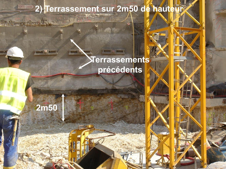 2m50 Terrassements précédents 2) Terrassement sur 2m50 de hauteur