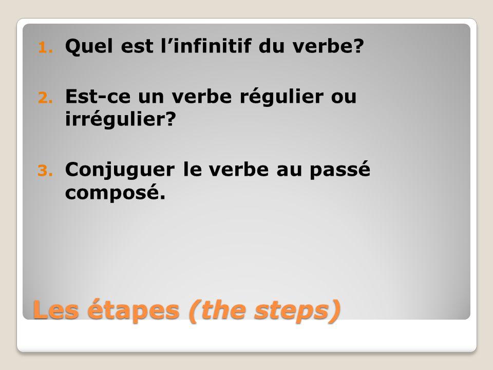 Les étapes (the steps) 1. Quel est linfinitif du verbe? 2. Est-ce un verbe régulier ou irrégulier? 3. Conjuguer le verbe au passé composé.