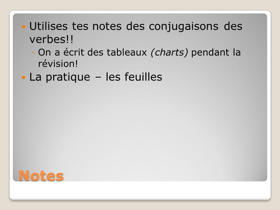 Notes Utilises tes notes des conjugaisons des verbes!! On a écrit des tableaux (charts) pendant la révision! La pratique – les feuilles