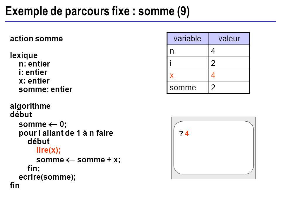 Exemple de parcours fixe : somme (9) action somme lexique n: entier i: entier x: entier somme: entier algorithme début somme 0; pour i allant de 1 à n