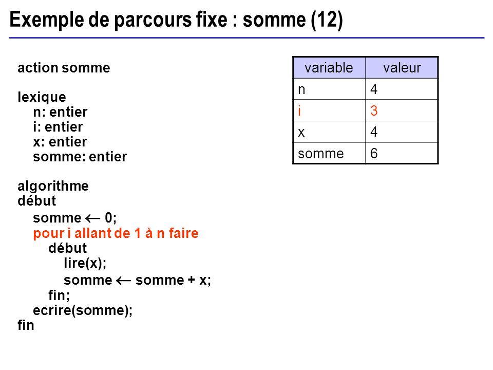 Exemple de parcours fixe : somme (12) action somme lexique n: entier i: entier x: entier somme: entier algorithme début somme 0; pour i allant de 1 à