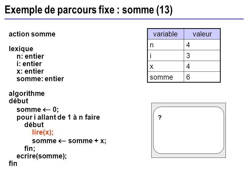 Exemple de parcours fixe : somme (13) action somme lexique n: entier i: entier x: entier somme: entier algorithme début somme 0; pour i allant de 1 à