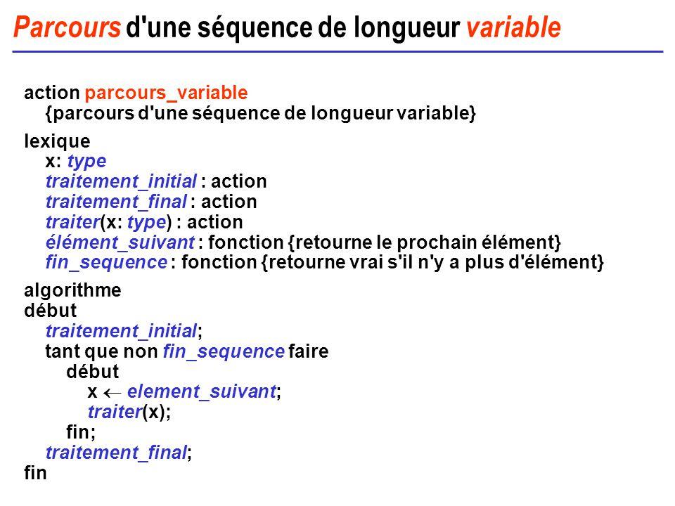 Parcours d'une séquence de longueur variable action parcours_variable {parcours d'une séquence de longueur variable} lexique x: type traitement_initia