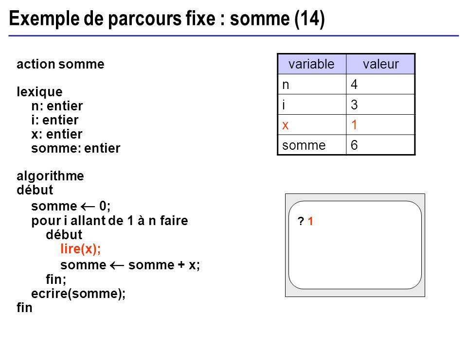 Exemple de parcours fixe : somme (14) action somme lexique n: entier i: entier x: entier somme: entier algorithme début somme 0; pour i allant de 1 à