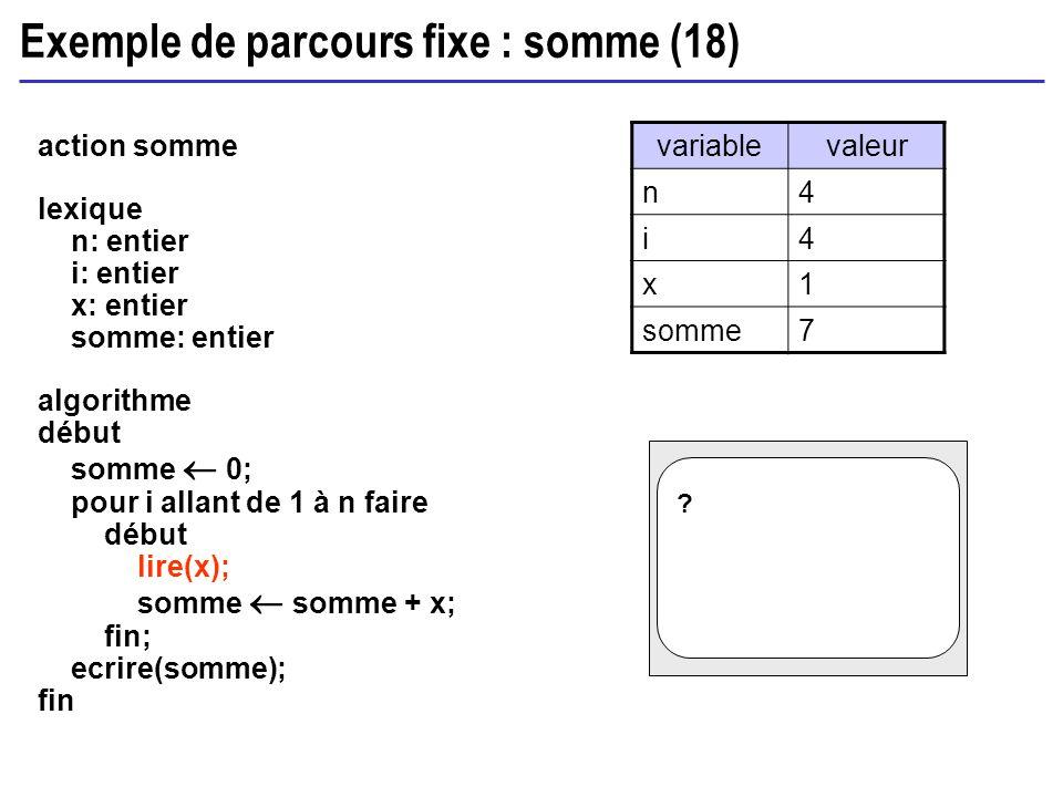 Exemple de parcours fixe : somme (18) action somme lexique n: entier i: entier x: entier somme: entier algorithme début somme 0; pour i allant de 1 à