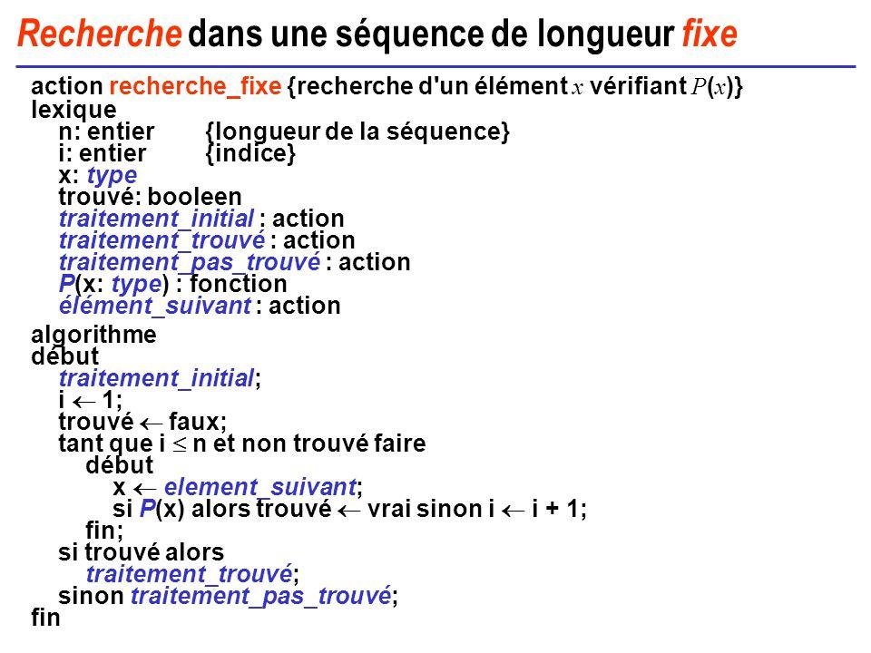 Recherche dans une séquence de longueur fixe action recherche_fixe {recherche d'un élément x vérifiant P ( x )} lexique n: entier{longueur de la séque