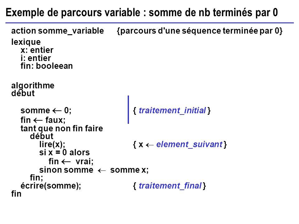 Exemple de parcours variable : somme de nb terminés par 0 action somme_variable {parcours d'une séquence terminée par 0} lexique x: entier i: entier f