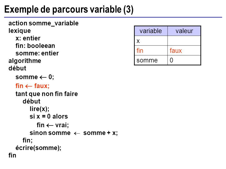 Exemple de parcours variable (3) action somme_variable lexique x: entier fin: booleean somme: entier algorithme début somme 0; fin faux; tant que non