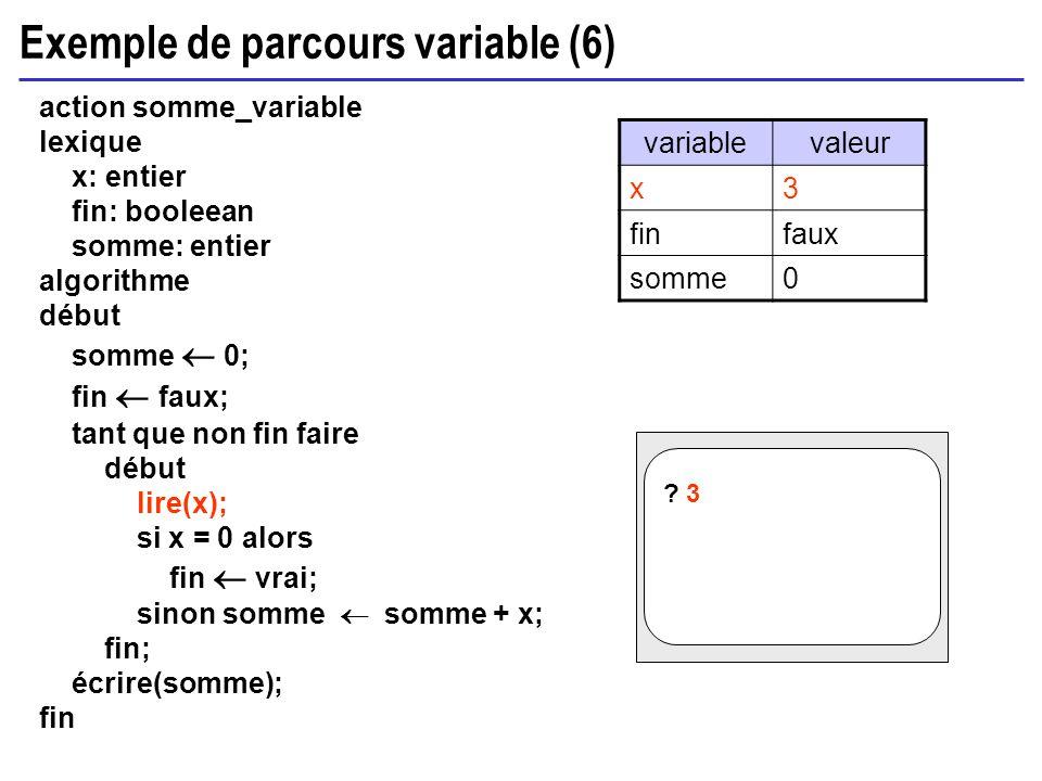 Exemple de parcours variable (6) action somme_variable lexique x: entier fin: booleean somme: entier algorithme début somme 0; fin faux; tant que non