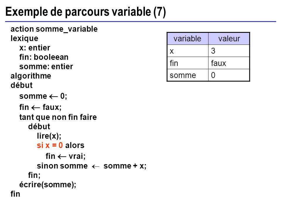Exemple de parcours variable (7) action somme_variable lexique x: entier fin: booleean somme: entier algorithme début somme 0; fin faux; tant que non