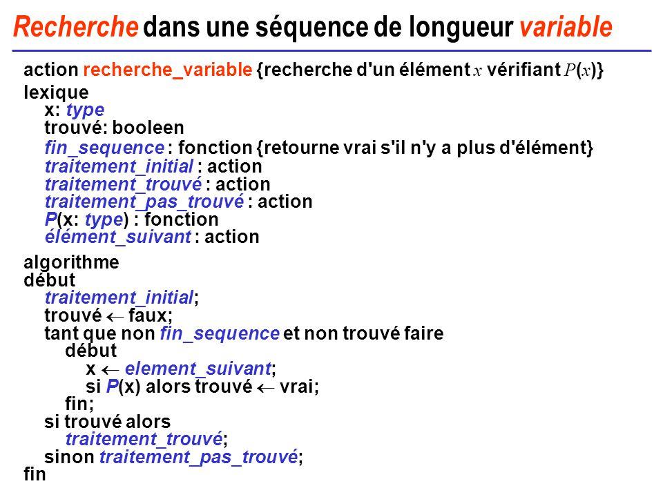 Recherche dans une séquence de longueur variable action recherche_variable {recherche d'un élément x vérifiant P ( x )} lexique x: type trouvé: boolee