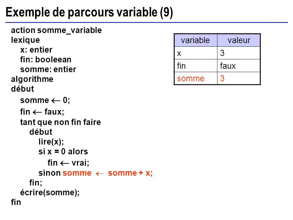 Exemple de parcours variable (9) action somme_variable lexique x: entier fin: booleean somme: entier algorithme début somme 0; fin faux; tant que non