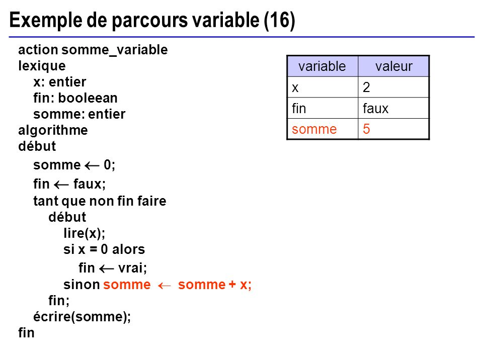 Exemple de parcours variable (16) action somme_variable lexique x: entier fin: booleean somme: entier algorithme début somme 0; fin faux; tant que non