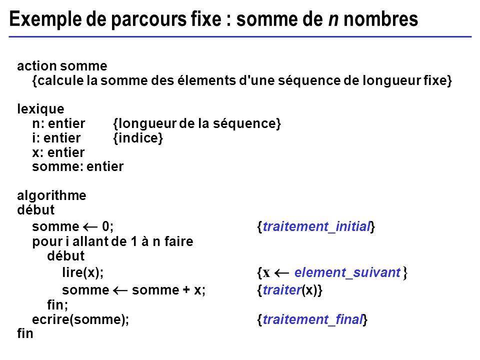 Exemple de parcours fixe : somme de n nombres action somme {calcule la somme des élements d'une séquence de longueur fixe} lexique n: entier{longueur