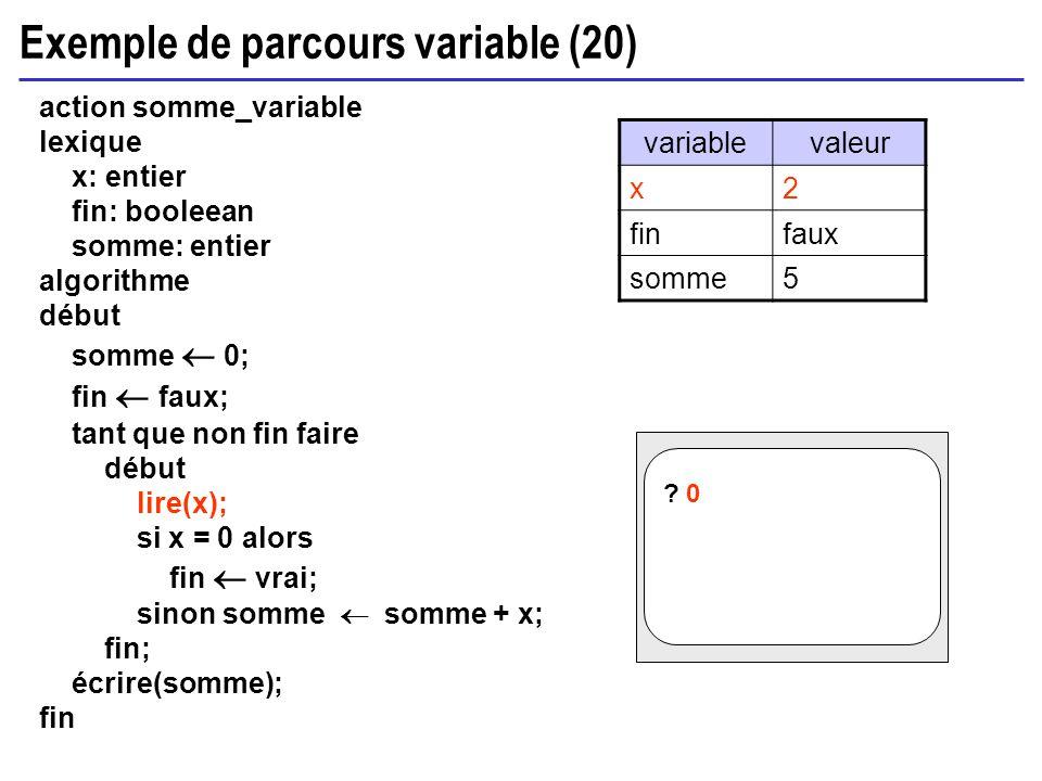 Exemple de parcours variable (20) action somme_variable lexique x: entier fin: booleean somme: entier algorithme début somme 0; fin faux; tant que non
