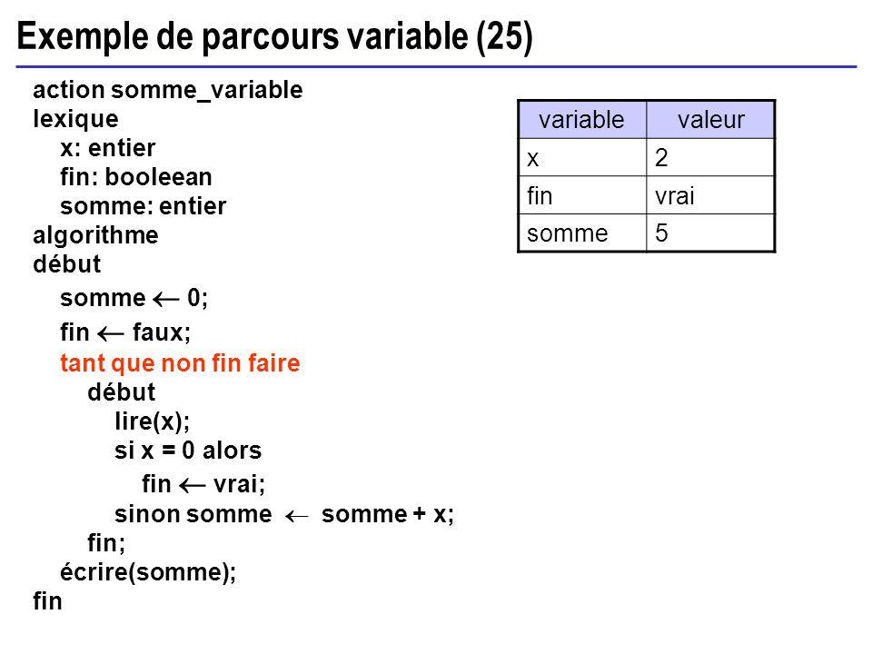 Exemple de parcours variable (25) action somme_variable lexique x: entier fin: booleean somme: entier algorithme début somme 0; fin faux; tant que non