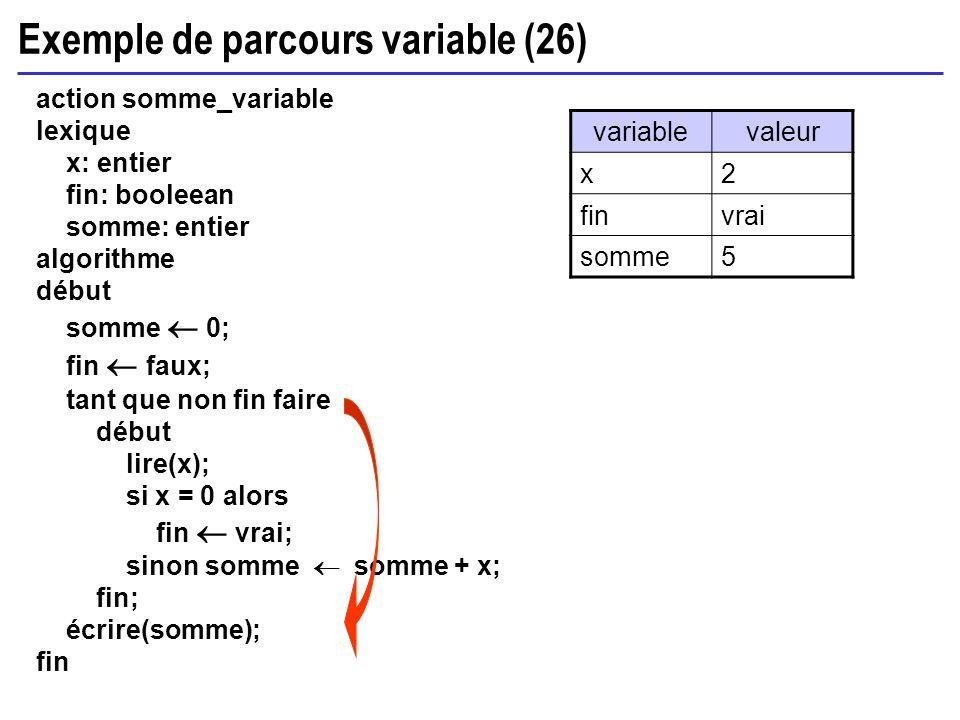Exemple de parcours variable (26) action somme_variable lexique x: entier fin: booleean somme: entier algorithme début somme 0; fin faux; tant que non