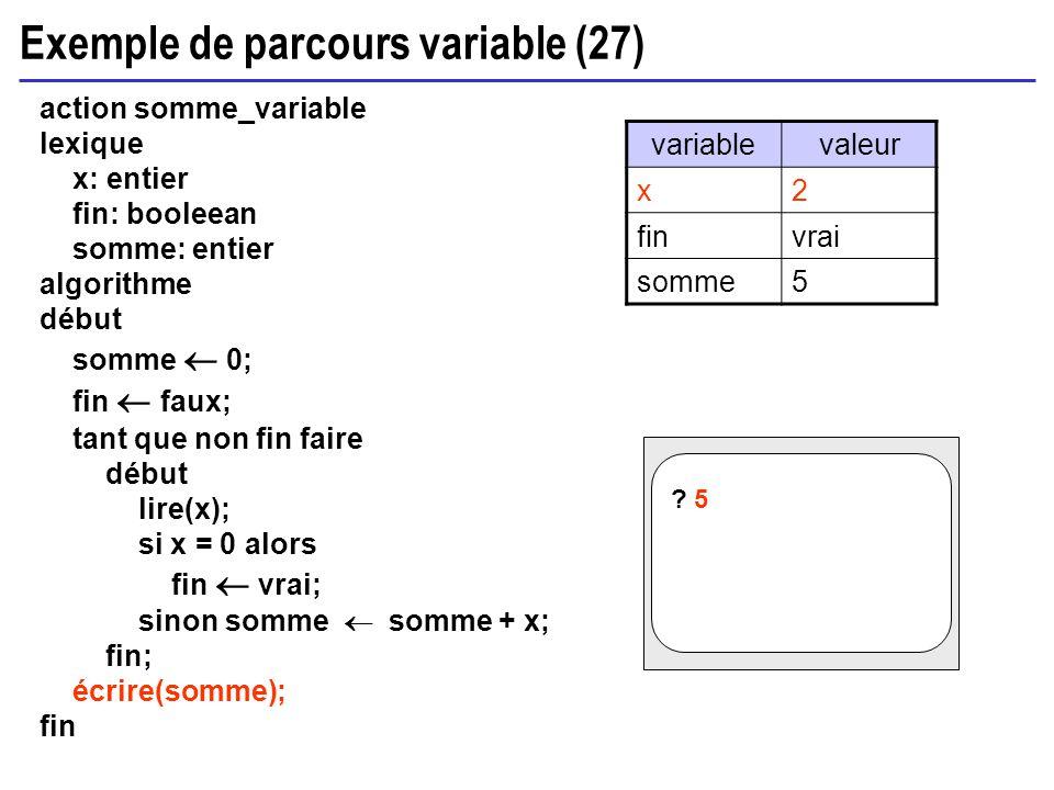 Exemple de parcours variable (27) action somme_variable lexique x: entier fin: booleean somme: entier algorithme début somme 0; fin faux; tant que non