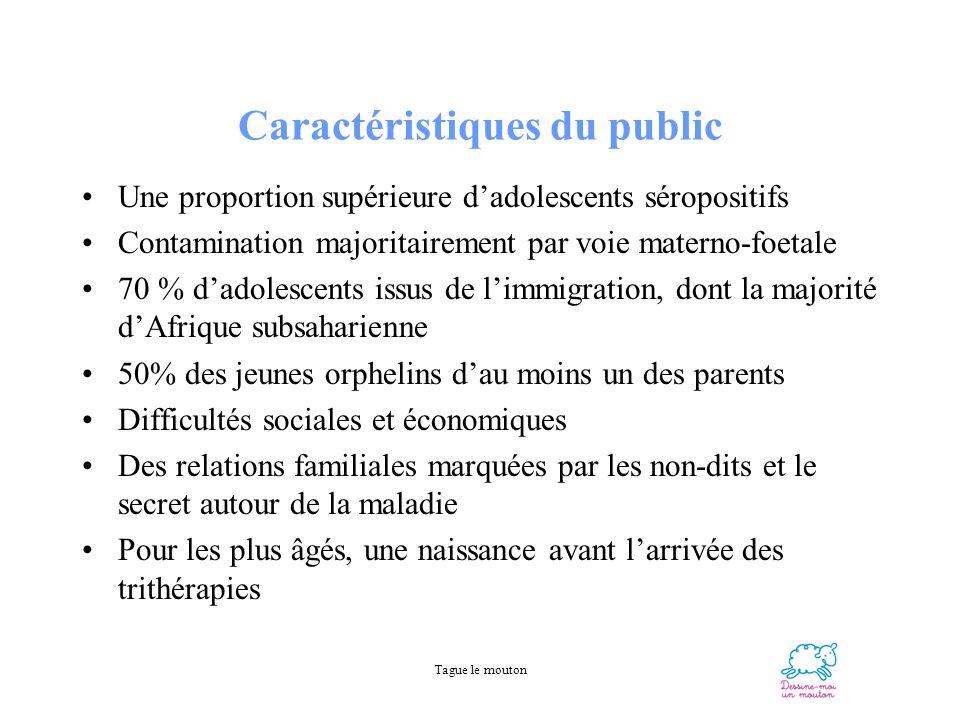 Tague le mouton Caractéristiques du public Une proportion supérieure dadolescents séropositifs Contamination majoritairement par voie materno-foetale